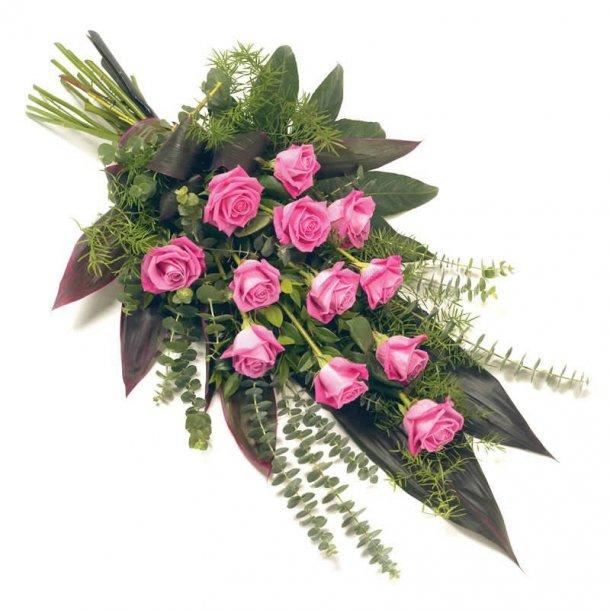 Bårebuket - lyserøde roser