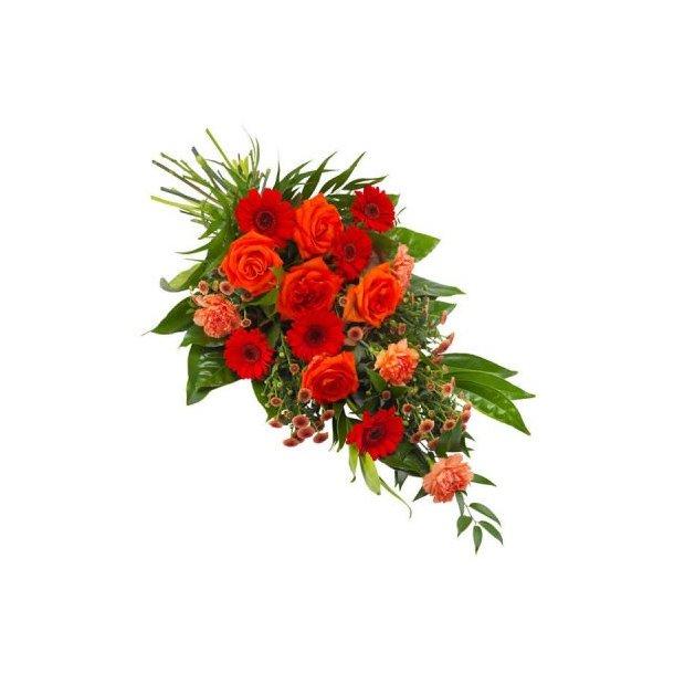 Bårebuket - røde / orange nuancer