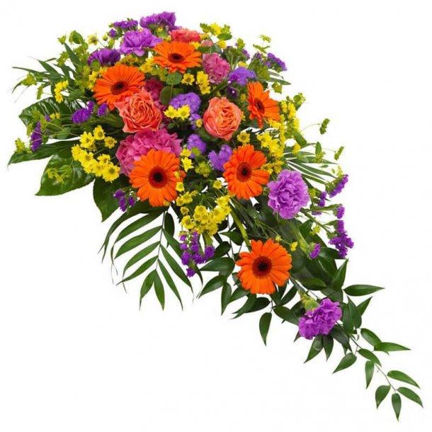 Båredekoration i lila, orange og gul